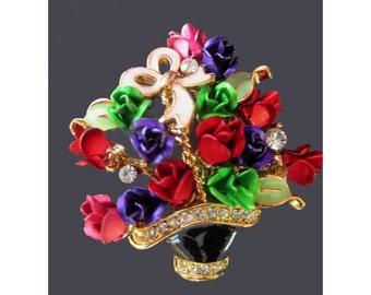 Flowers Pin / Brooch * Basket Of Roses * Rhinestones * Vintage WLIND