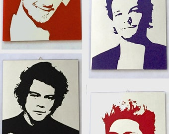 One Direction.  4 hand-etched Mirrors, sanded and stained.