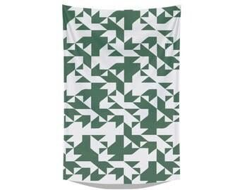 green pattern tea towel