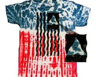Illuminati All Seeing Eye on American Flag Tie-Dye Shirt