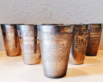 Etched, Silver Lassi Cup, Hammered, Etched cups, Silver vases, Botanical, Flowers and leaves motif, Delicate designs, Silver patina
