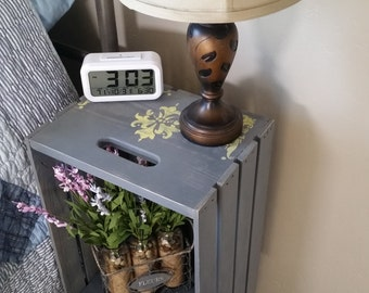 Stained wood crate bedside table nightstand end by for Wooden crate bedside table