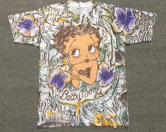 90's Vintage BETTY BOOP Full Over Print TSHIRT rare