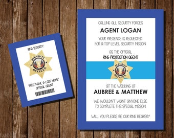 Printable Ring Bearer Invitation / Ring Security Agent