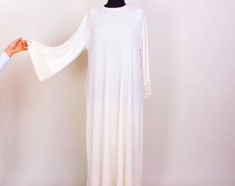 Beach dress ivory semi sheer loose dress,  maxi long sleeve loose big size dress,