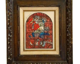 "Marc Chagall's Hand Painted ""Tribe of Judah"" 64' Replica Plate, from Twelve Maquettes of Stained Glass Windows for Jerusalem, Signed Chagall"