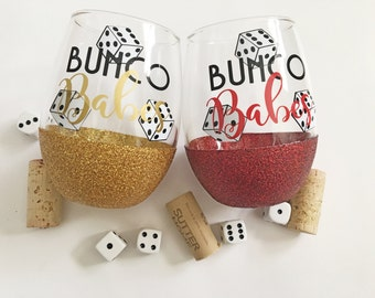 Bunco wineglass/bunco babes/glitterdipped