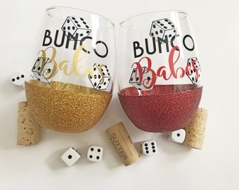 Bunco wineglass/bunco babes/glitterdipped