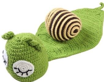 Handmade crochet baby snail photo prop/costume.