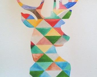 Original watercolor multicolor deer