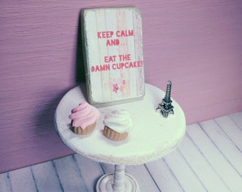 Miniature picture wooden sign keep calm and cupcake shabby chic