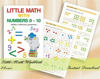 Little Math with Numbers 0-10 for preschool children - Download Digital Printable Workbook