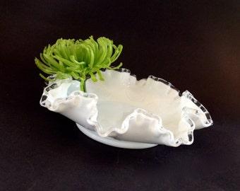 Vintage Fenton Milk Glass - Fenton Glass Silver Crest Bowl - Ruffle Bowl - Double Crimp Bowl