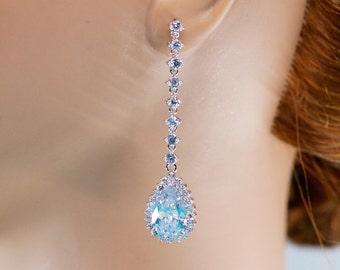 Long Bridal Earrings, Statement Bridal Jewelry, Long Crystal Earrings, Crystal Wedding Earrings, Bridesmaid Earrings, Cubic Zirconia Earring