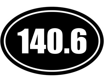140.6 Miles Ironman Triathlon Euro Oval V#1 Decal Sticker Car Truck Window Laptop Die Cut Vinyl Select Color/Size