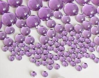 110pcs Mixed Size 3,4,8,10mm Dome Hemisphere Acrylic Flatback Rhinestones Cabochons Scrapbooking Nail Craft - Purple
