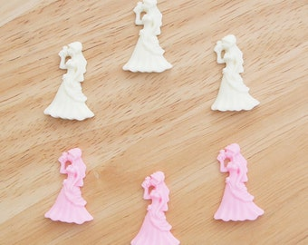 Wedding Lady (Ivory & Pink) 21mm x 32mm Flatback Cabochon Resin Deco Embellishments Scrapbooking Craft DIY - 1/5/20pcs