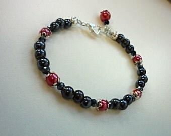 Red and black bracelet, baded bracelet