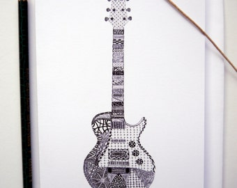 Won't Get Drawn Again Guitar Doodle Illustration Greetings Card