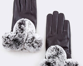 Rabbit Fur Leather Gloves, leather gloves, rabbit fur, gloves, winter gloves, rabbit, women gloves,