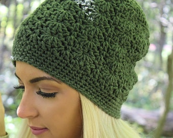 Green Slouchy Hat, Green Slouchy Beanie, Green Beanie, Olive Green Hat, Green Winter Hat, Green Crochet Hat, Shell Stitch Hat, THE SIERRA