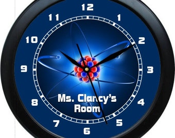 "Physics Teacher Clock 10"" Personalized Wall Clock  Gift Classroom Earth Science atoms"