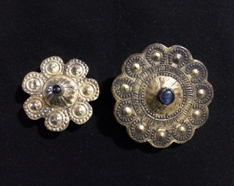 Two Antique brass buttons from Afghanistan.