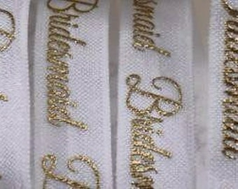 "5/8"" gold foil Bridesmaid Fold Over Elastic by the yard"
