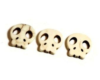 THREE Howlite Skull Beads / Howlite Skull Beads/ Three Skull Beads