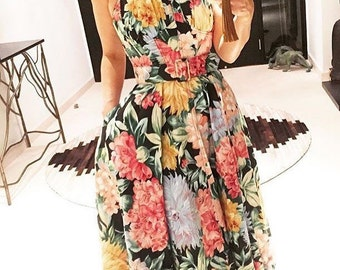 Lovely 80s does 50s floral dress