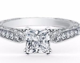 1/5 ct Diamond princess Solitaire vintage Engagement Ring 14k White Gold Mount