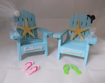 Wedding Reception  Party Adirondack Chairs Starfish Wine Glasses Flip Flops Cake Topper