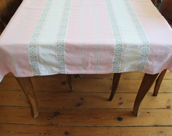 Old tablecloth pink and white patterned