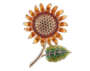 Sunflower Brooch Gold Plated Jewelled