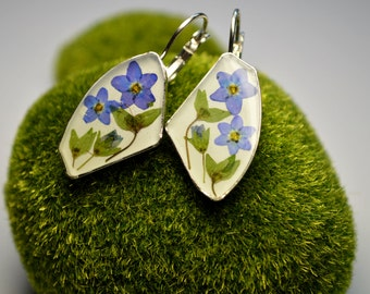 Dried Forget me not Flowers Eco Jewelry Real Flower earrings Epoxy flower jewelry Botanical earrings Nature Earrings Crystal Resin