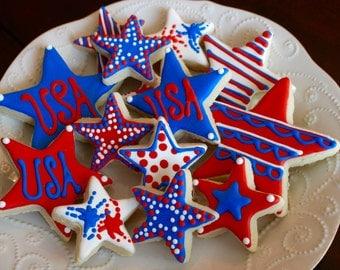 Patriotic 4th of July USA Sugar Design Cookies - 1 Dozen!