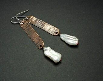 Dangle Earrings, Copper, Freshwater Pearls, Silver