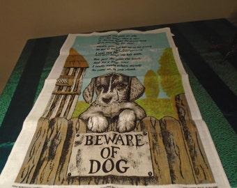 beware of  dog tea towel