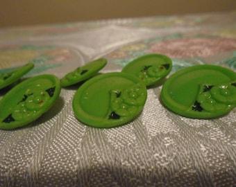 green glass art deco buttons x 7