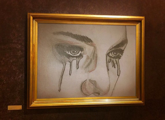 pencil art print woman crying pencil art sad pencil art. Black Bedroom Furniture Sets. Home Design Ideas
