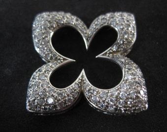 Vintage Sterling Silver White Gemstone Adorned Fleur Pendant