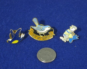 Lot of 3 Vintage Bird Lover's Pins Bluejay Rooster, Golf Birdie Pin