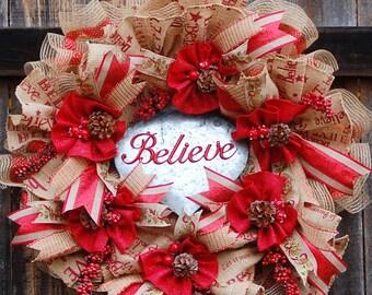 Burlap Mesh Christmas Wreath Front Door, Mesh Christmas Wreath, Christmas Wreath, Christmas Mesh Wreaths, Deco Mesh Wreath, Holiday Wreaths