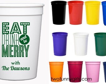 Personalized Christmas Party Stadium Cups {12 oz}