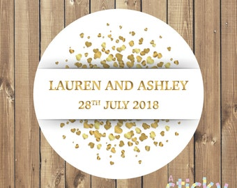 Personalized Wedding Stickers - White and Gold Hearts Design