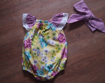 SALE LAST ONE! Lovely Yellow and Purple Floral Seaside Romper - Size 1