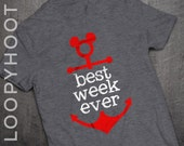 Best Week Ever Disney Cruise Family Vacation Mickey Anchor T-shirt in DEEP HEATHER GRAY