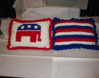 Republican Elephant Logo Pillow Crochet Pattern,Patriotic Pillow Crochet Pattern,Political Pillow Crochet Pattern,Elephant Pillow Crochet