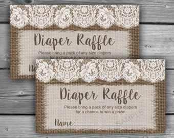 Burlap and Lace Baby Shower Diaper Raffle Ticket - Printable - Diaper Raffle Tickets - Instant Download - DIY - 058