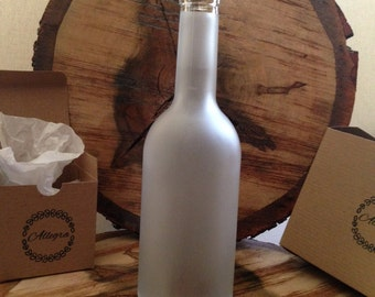 Wine Bottle Hurricane FROSTED